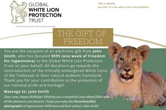 Global White Lion Protection TrustThis Festive Season, let your